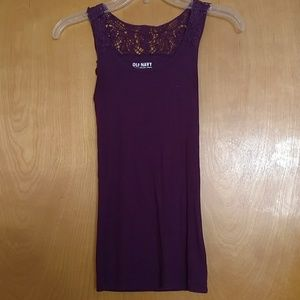Old navy XS tank top with crocheted top in plum
